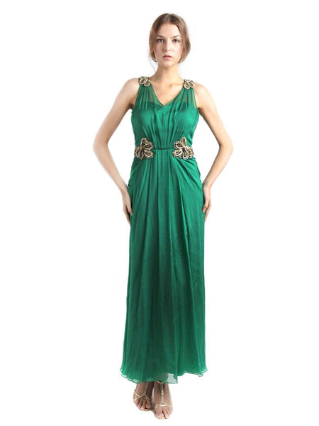 Red by Sebastian Gunawan - Buy: Emerald Green Beaded Dress-The Dresscodes - 1