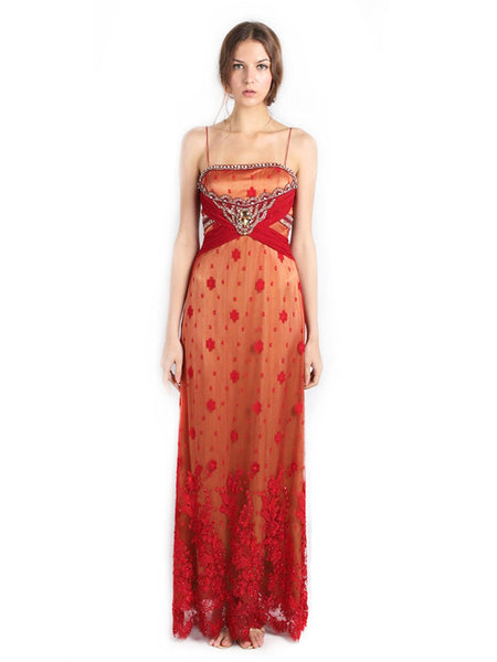 Red by Sebastian Gunawan - Buy: Indian Beaded Lace & Chiffon-The Dresscodes - 1
