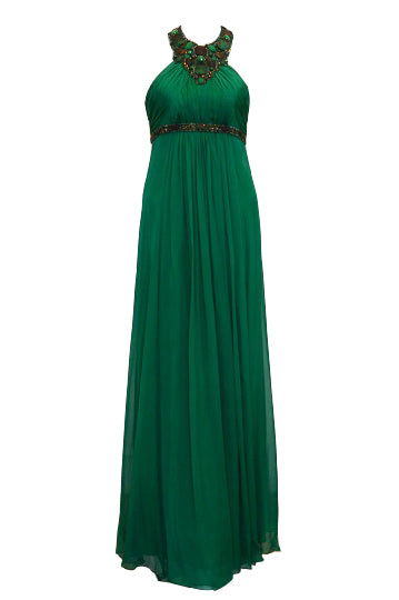 Rent: Sebastian Gunawan - Green Halter Beaded Long Dress