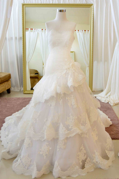 Rent: Sebastian Sposa - Sweetheart Strapless Ruffles Wedding Gown