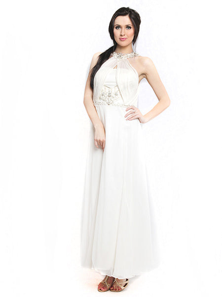 Red by Sebastian Gunawan - Buy: Grecian White Chiffon Gown-The Dresscodes - 1