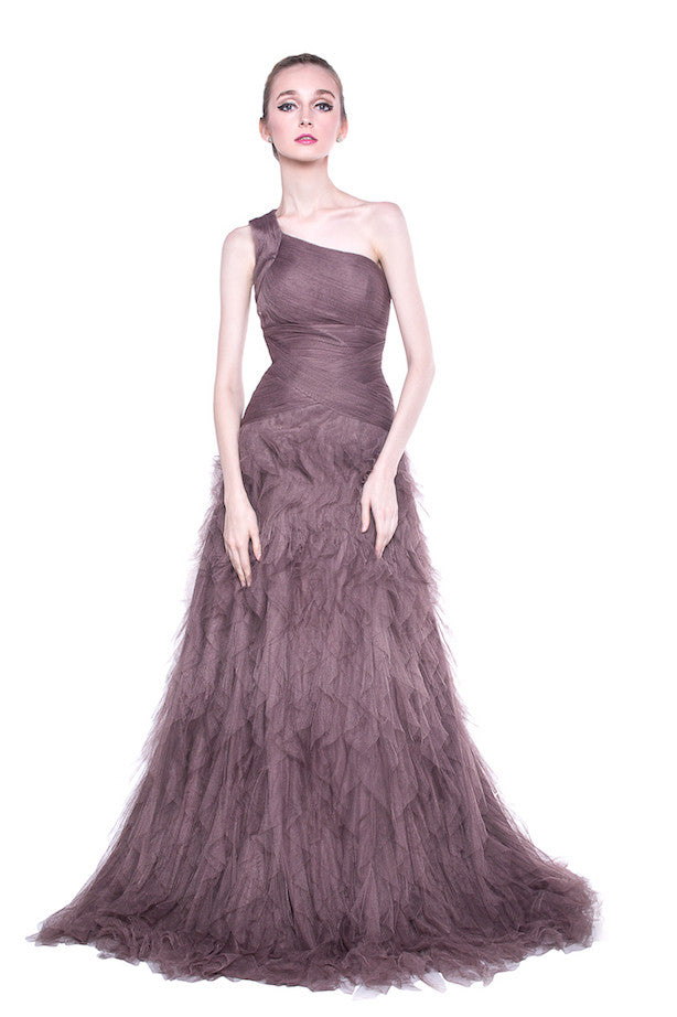 Seduce Ruffled Tulle Purple Gown Thedresscodes