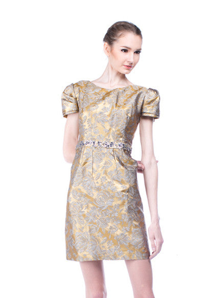 Lucy Harli - Buy: Golden Jacquard Dress-The Dresscodes - 1