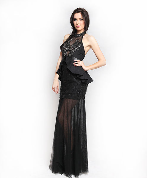 Rent: Sisca Phang Halter Gown with Peplum Skirt