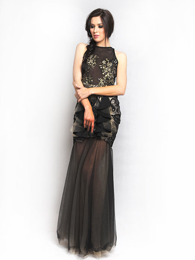 Sisca Phang - Rent: Sisca Phang Black & Gold Tulle Gown-The Dresscodes - 1