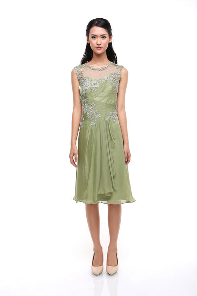 Stella Ong - Rent: Stella Ong Green Lace & Chiffon Dress-The Dresscodes - 1