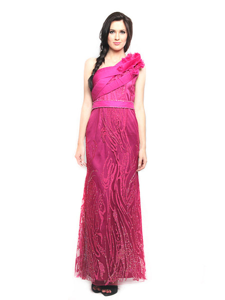 Stella Ong - Rent: Stella Ong One Shoulder Structured Fuschia Gown-The Dresscodes - 1