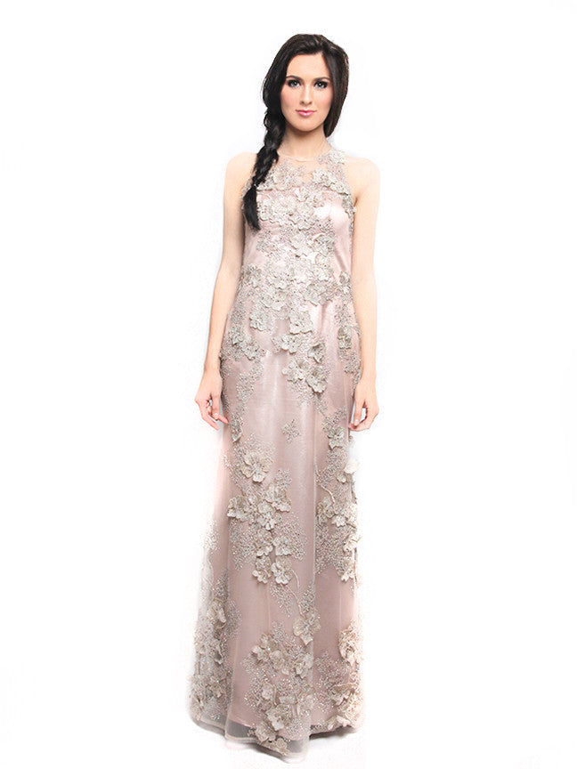 Stella Ong - Rent: Stella Ong Sleeveless Nude Dress with Rhinestones-The Dresscodes - 1