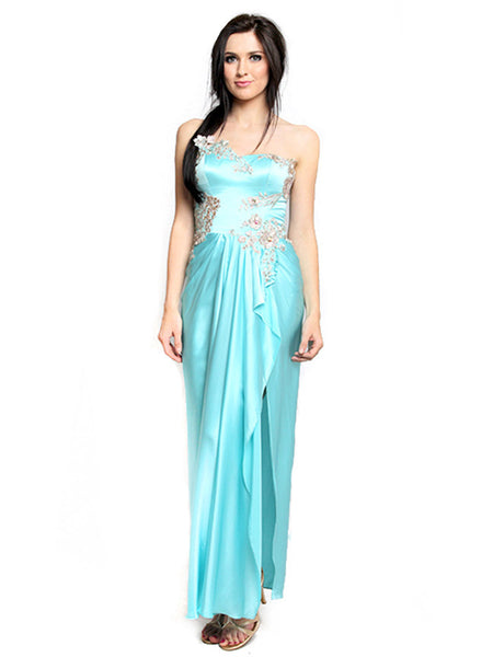 Stella Ong - Rent: Stella Ong Sky Blue Satin Gown with Slit-The Dresscodes - 1