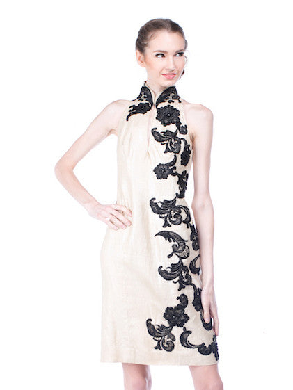Stella Rissa - Rent: Stella Rissa Cream Gold Cheongsam-The Dresscodes - 1