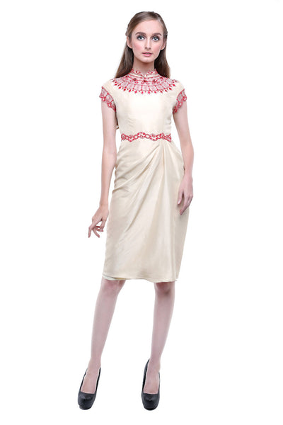 Studio 133 by Biyan - Buy: Cream Red CheongSam-The Dresscodes - 1