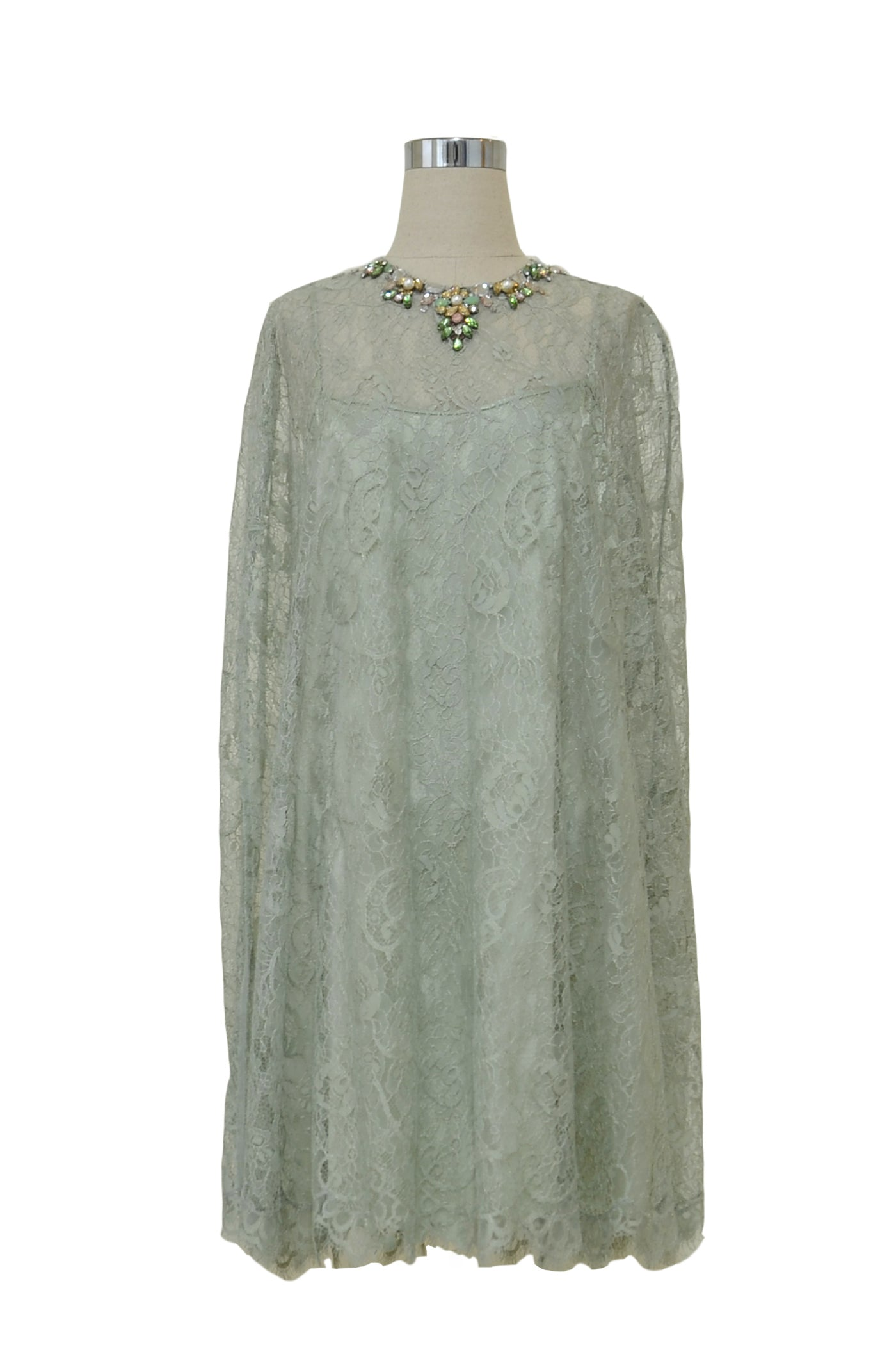 Rent: Studio 133 by Biyan Green Pastel Lace Kaftan