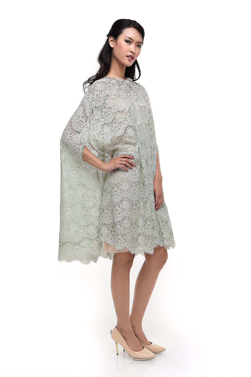 Studio 133 by Biyan - Buy: Biyan Pastel Green Lace Cape kaftan-The Dresscodes - 1