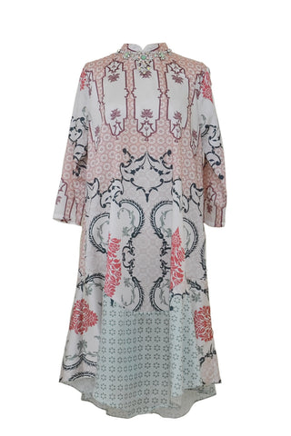 Rent: Studio 133 by Biyan Batik White Pink Combo Beaded Neckline Dress