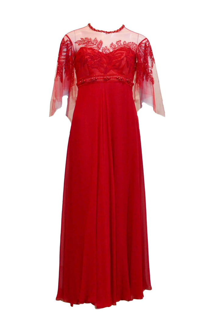 Rent: Studio 133 by Biyan Red 3/4 Sleeves Chiffon Long Dress