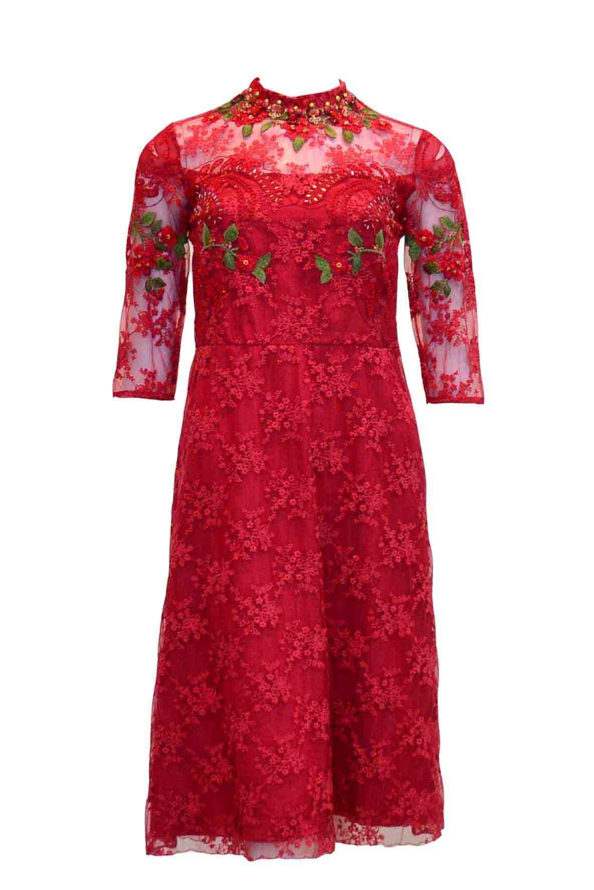 Rent: Studio 133 by Biyan 3/4 Sleeves Red Lace Cocktail Dress