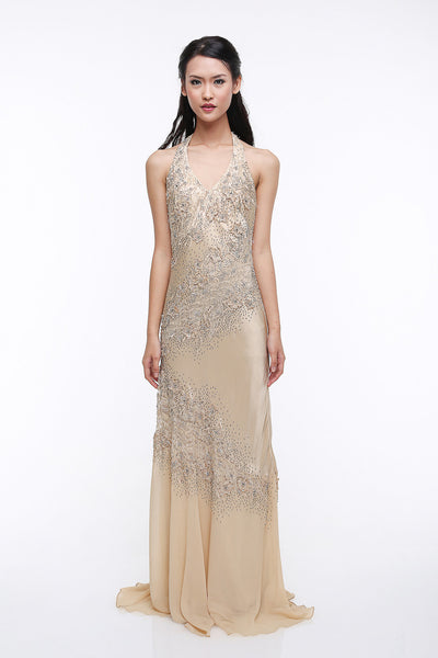 Sue Wong - Rent: Sue Wong Halter Silk Beaded Dress-The Dresscodes - 1