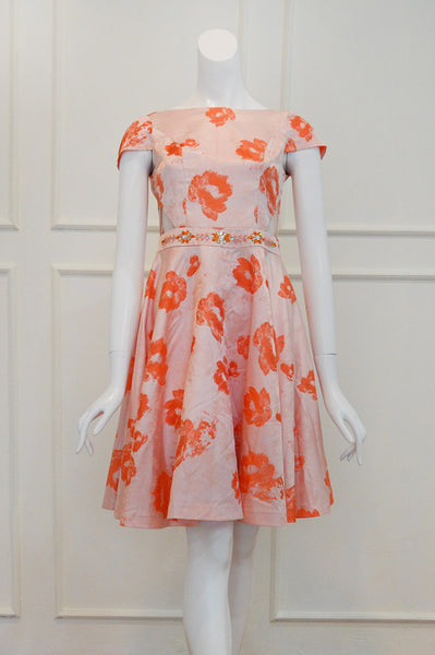 Rent: Susana Bridal Peach Floral Cocktail Dress