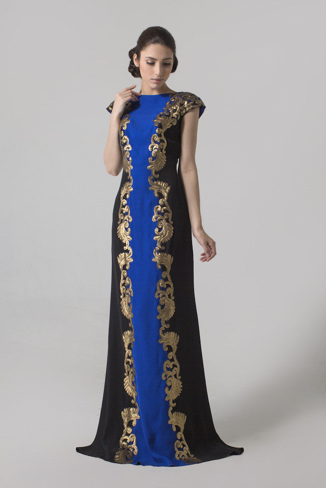 Tadashi Shoji - Buy: Crepe Boatneck Gown with Metallic Gold Paillette-The Dresscodes - 1
