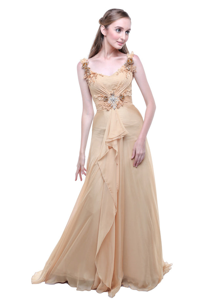 TEX Saverio - Buy: Golden Sleeveless Silk Chiffon Dress-The Dresscodes - 1
