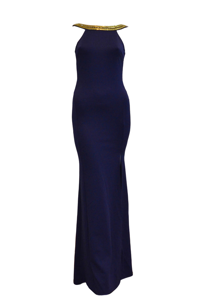 Rent: TFNC - Jewel Gold Neck and Navy Blue Maxi with Slit