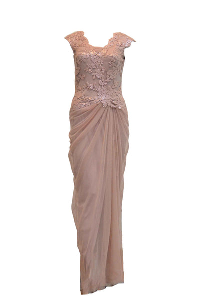 Rent: Tadashi Shoji - Dusty Pink Tulle with Sequins Dress