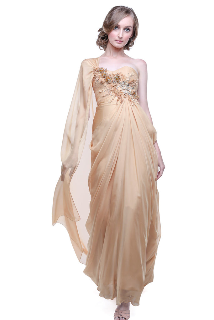TEX Saverio - Buy: One Shoulder Silk Chiffon Dress-The Dresscodes - 1