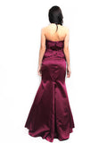 Truly Zac Posen - Rent: Truly Zac Posen Merlot Satin Mermaid Gown-The Dresscodes - 2