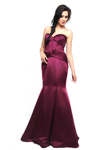 Truly Zac Posen - Rent: Truly Zac Posen Merlot Satin Mermaid Gown-The Dresscodes - 1