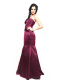 Truly Zac Posen - Rent: Truly Zac Posen Merlot Satin Mermaid Gown-The Dresscodes - 3