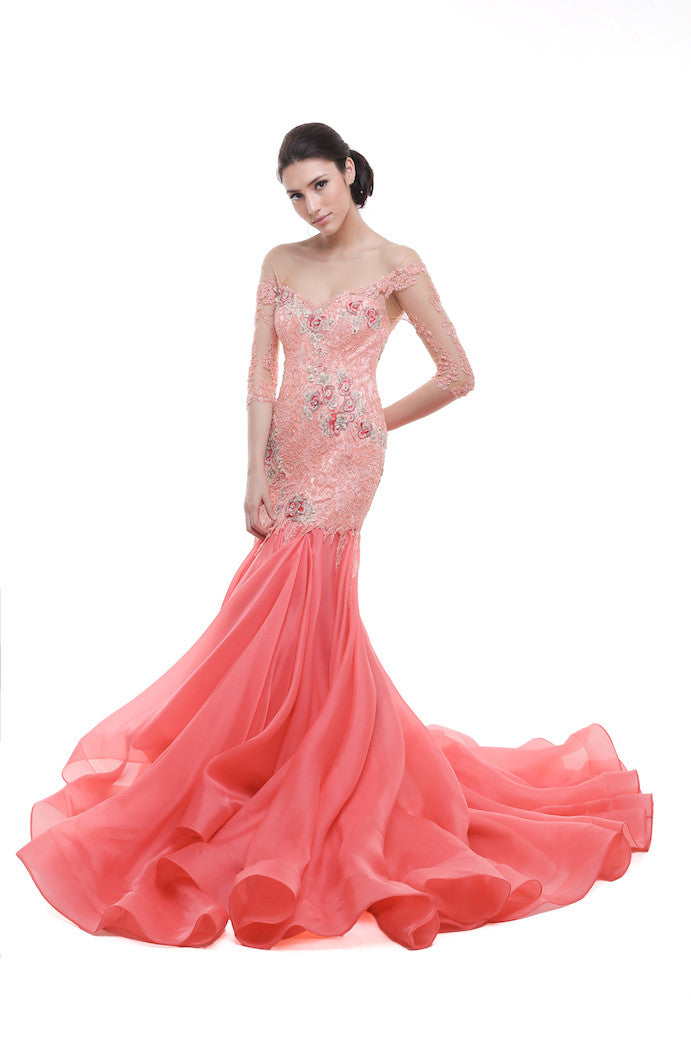 Verena Mia - Buy: Coral Pink 3/4 Sleeves Mermaid Gown-The Dresscodes - 1