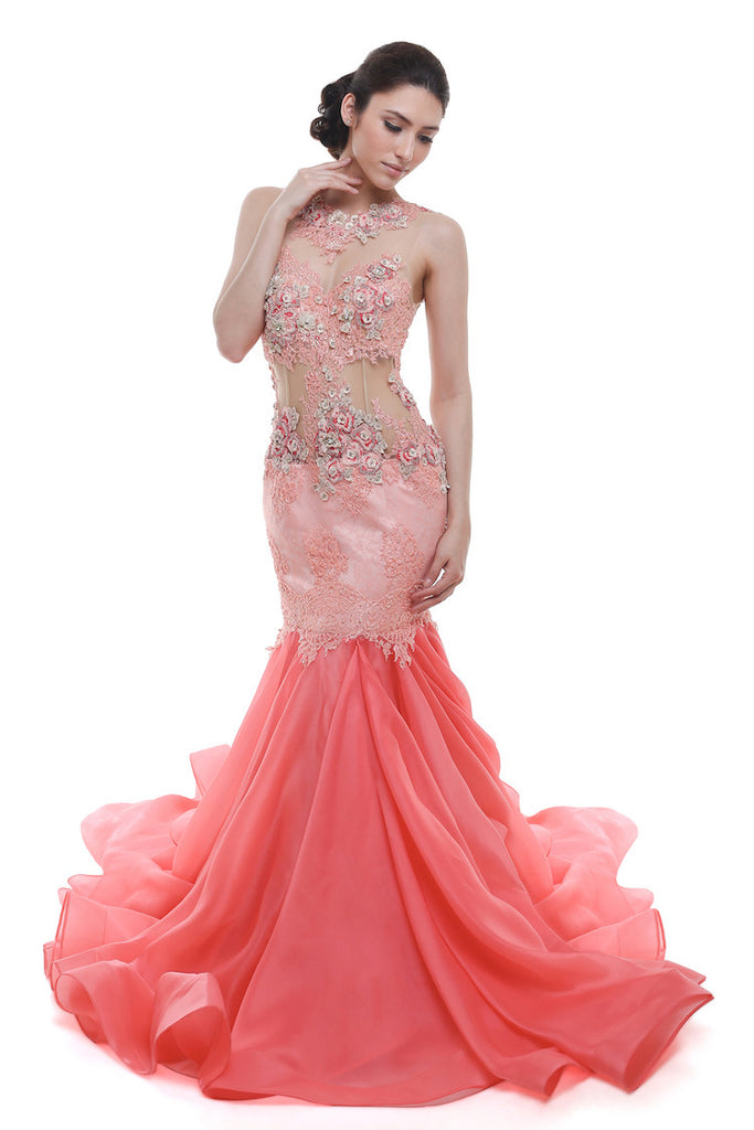 Verena Mia - Rent: Verena Mia Coral Pink Mermaid Tulle Gown-The Dresscodes - 1