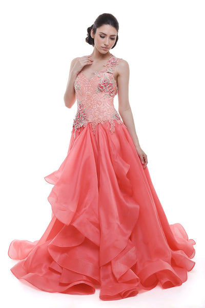 Verena Mia - Buy: Verena Mia Coral Pink One Shoulder A-line Gown-The Dresscodes - 1