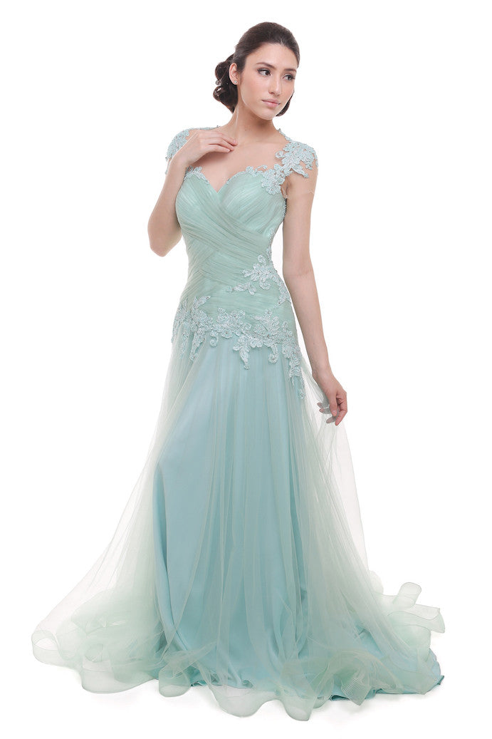 Verena Mia - Rent: Verena Mia Pastel Green Short Sleeves Pleated Tulle Gown-The Dresscodes - 1