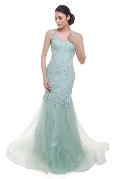Verena Mia - Rent: Verena Mia Pastel Green Sleeveless Organza Gown-The Dresscodes - 1