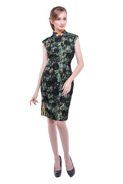 Vertigo - Buy: Black Green CheongSam Dress-The Dresscodes - 1
