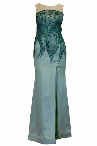 Rent : Vivi Valencia - Green Sleeveless Embroidery with Slit Gown