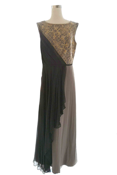 Rent: Votum by Sebastian - Grey & Black A Line Gown