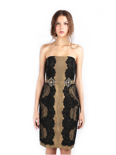 Votum by Sebastian Gunawan - Rent: Strapless Gold and Black Lace Dress-The Dresscodes - 1