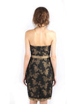 Votum by Sebastian Gunawan - Buy: Strapless Black Gold Lace Dress-The Dresscodes - 3