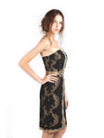 Votum by Sebastian Gunawan - Buy: Strapless Black Gold Lace Dress-The Dresscodes - 1