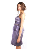 Votum by Sebastian Gunawan - Rent: Peplum Purple Strapless Dress-The Dresscodes - 2