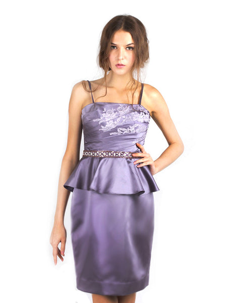 Votum by Sebastian Gunawan - Rent: Peplum Purple Strapless Dress-The Dresscodes - 1