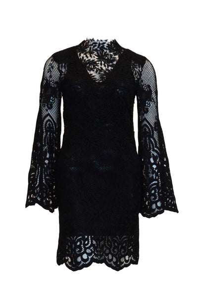 Rent: WHITE SUEDE Black Long Sleeves Lace Cocktail Dress