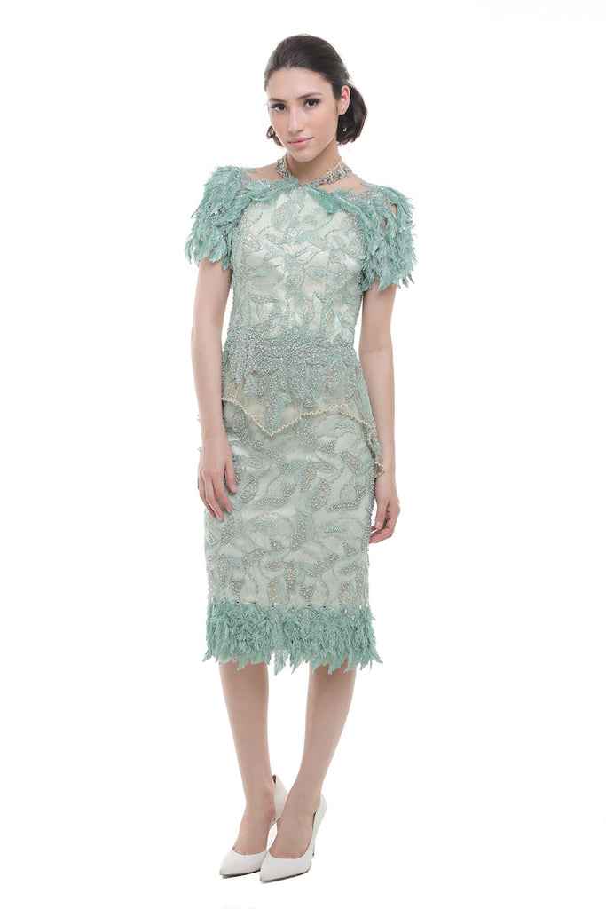 Windy Chandra Couture - Rent: Windy Chandra Metallic Green Ostrich Beaded Dress-The Dresscodes - 1