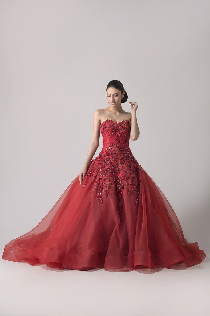Windy Chandra Couture - Buy: Red Ball Gown-The Dresscodes - 1