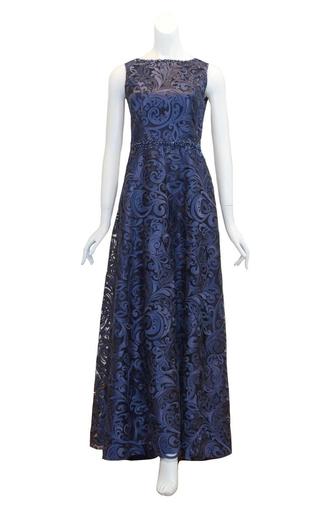 Sale: SMARTKATE - Blue Brocade Waist Beaded Long Dress
