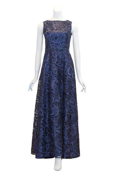 Rent: SMARTKATE - Blue Brocade Waist Beaded Long Dress