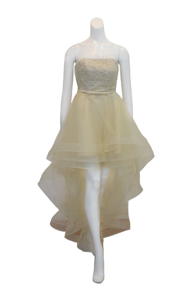 Sale: E&FINE - White Strapless Brocade Tulle Dress