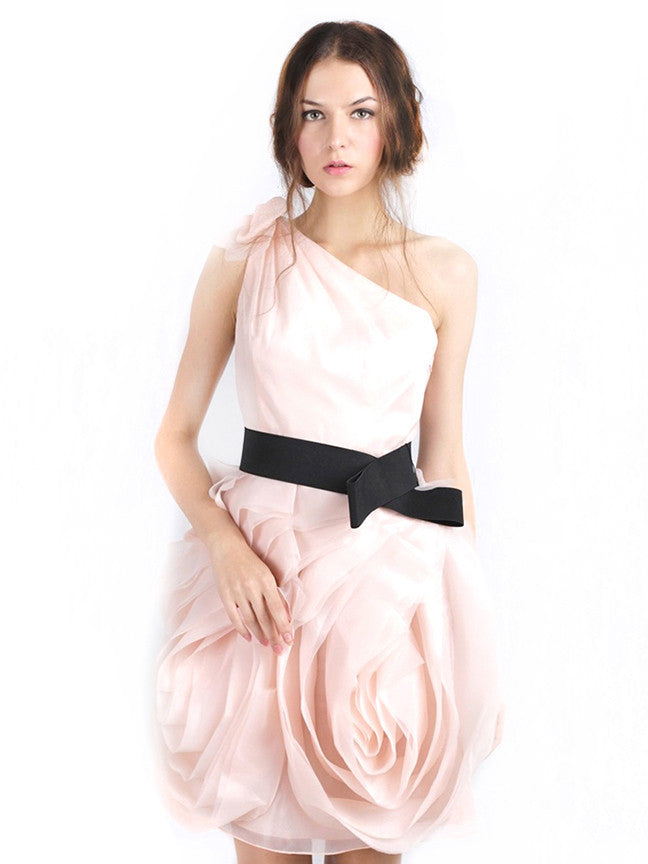 WHITE by Vera Wang - Rent: WHITE by Vera Wang One Shoulder Pink Organza Dress-The Dresscodes - 1